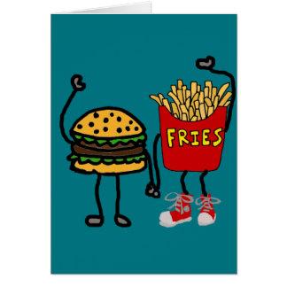 Funny Hamburger and French Fries Cartoon Art Card