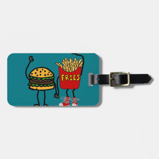 Funny Hamburger and French Fries Cartoon Art Luggage Tag