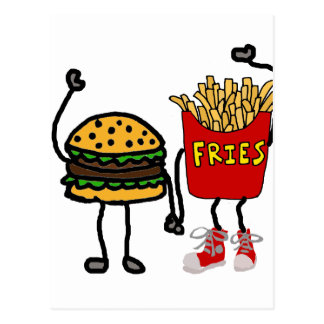 Funny Hamburger and French Fries Cartoon Art Postcard
