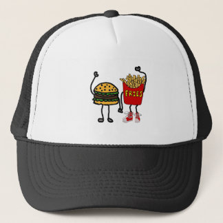 Funny Hamburger and French Fries Cartoon Art Trucker Hat