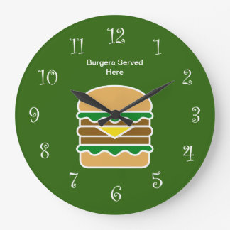 Funny Hamburger Kitchen Design Large Clock