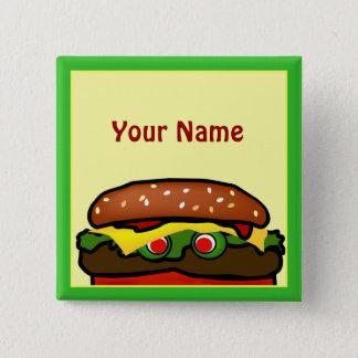 Funny Hamburger Picnic Name Tag Button