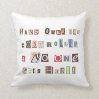 Funny Hand Over the Controller Ransom Note Collage Throw Pillow