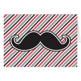 Funny handlebar mustache on retro gray red stripes card