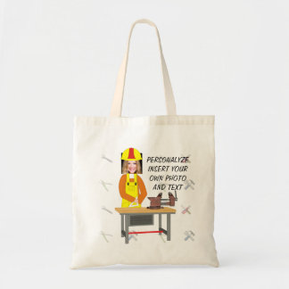Funny HandyWoman, Tote Bag - Add Photo & Text
