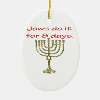 Funny Hanukkah Ceramic Oval Ornament