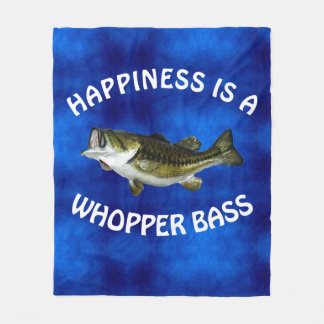 """Funny """"Happiness is a Whopper Bass"""" Fleece Blanket"""