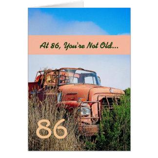 FUNNY Happy 86th Birthday Vintage Orange Truck 86A Greeting Card