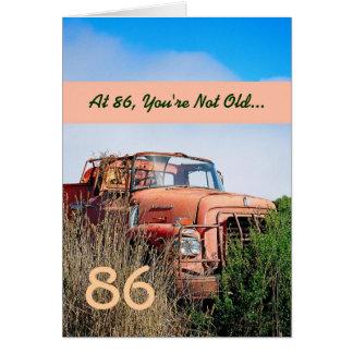 FUNNY Happy 86th Birthday - Vintage Orange Truck Greeting Card