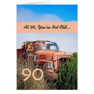 FUNNY Happy 90th Birthday - Vintage Orange Truck Card
