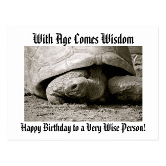 Funny Happy Birthday Postcard with old tortoise.