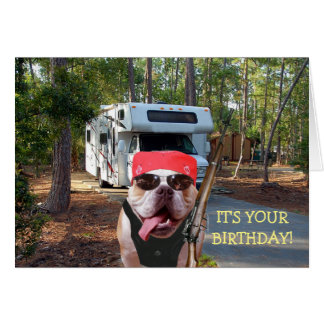Funny Happy Camper Birthday Card