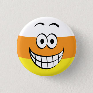 Funny, Happy Candy Corn Halloween 1 Inch Round Button