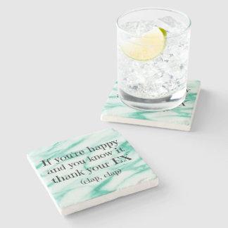 Funny Happy Divorce Quote Stone Coaster