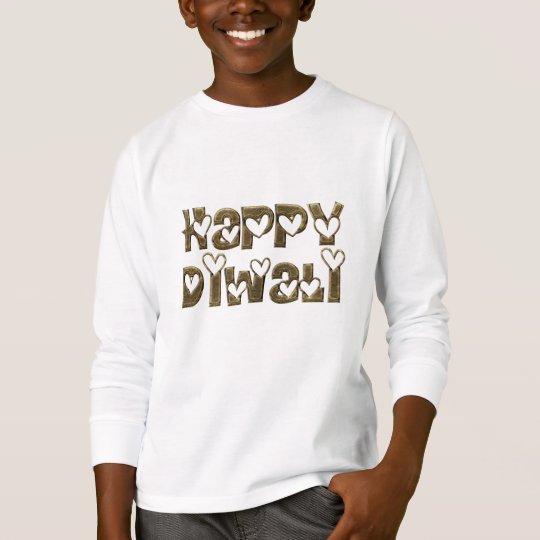 Funny Happy Diwali Hearts Typography Shirt