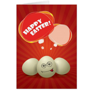 Funny Happy Easter Red Greeting Card