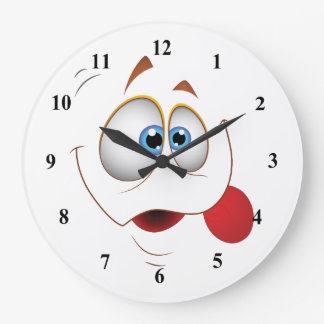 Funny Happy Face Blue Eyes Large Clock