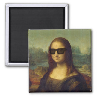Funny Happy Hipster Shades Mona Lisa by da Vinci Square Magnet