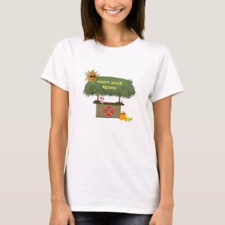 Funny HAPPY HOUR TropicaI island Tiki Bar Hut T-Shirt