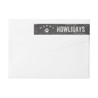 Funny Happy Howliday Dog Lover Christmas Wraparound Return Address Label
