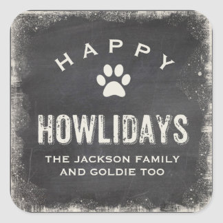 Funny Happy Howlidays Dog Lover Christmas Square Sticker