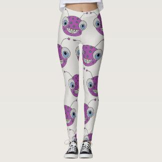 Funny Happy Purple Alien Pattern Leggings