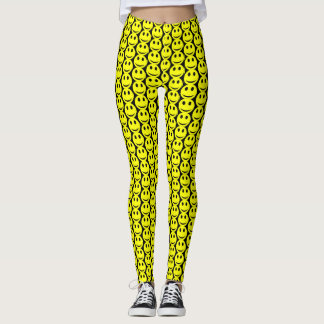Funny Happy Smiley Faces Yellow Black Pattern Leggings