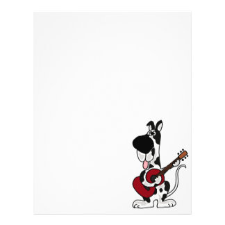 Funny Harlequin Great Dane Playing Guitar Letterhead