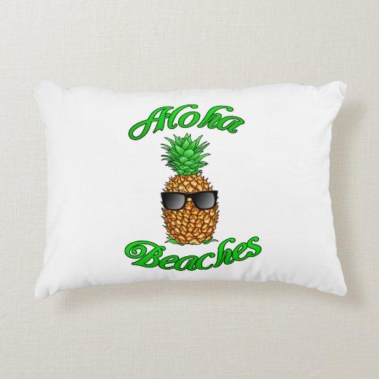 Funny Hawaiian Pineapple Aloha Beaches Decorative Pillow