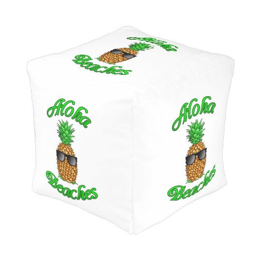 Funny Hawaiian Pineapple Aloha Beaches Pouf