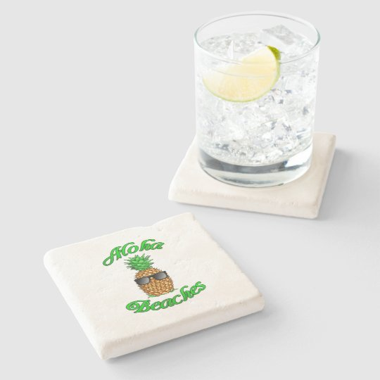 Funny Hawaiian Pineapple Aloha Beaches Stone Coaster