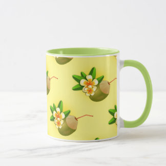 Funny hawaiian tropical coconut milk. yellow mug