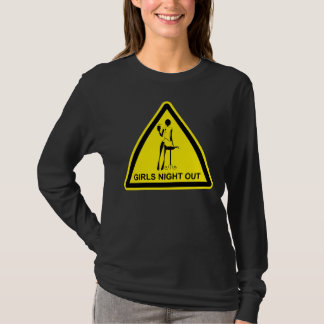 Funny Hazard Sign Girls Night Out - Black & Yellow T-Shirt