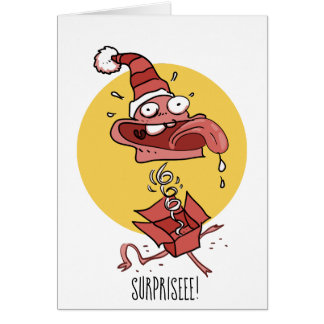 funny head into the surprise box cartoon card