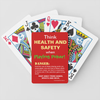 Funny Health and Safety Poker Spoof Joke Warning Bicycle Playing Cards