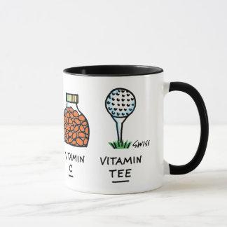 Funny Healthy Golfer Golf Ball Cartoon Vitamin Tee Mug