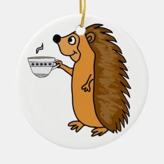 Funny Hedgehog Drinking Tea Cartoon Ceramic Ornament