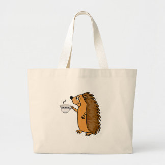 Funny Hedgehog Drinking Tea Cartoon Large Tote Bag