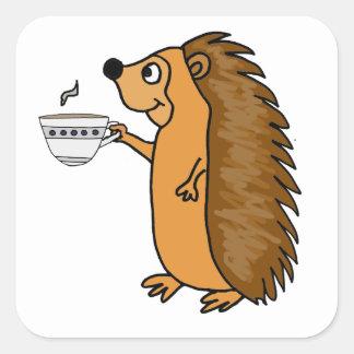 Funny Hedgehog Drinking Tea Cartoon Square Sticker
