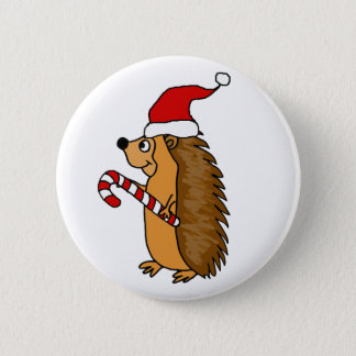 Funny Hedgehog in Santa Hat Christmas Art 2 Inch Round Button