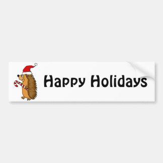 Funny Hedgehog in Santa Hat Christmas Art Bumper Sticker
