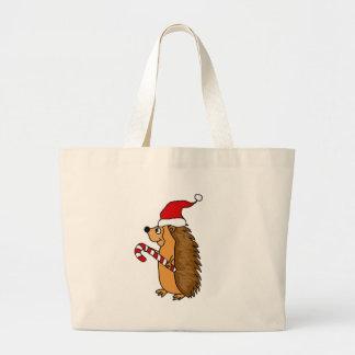 Funny Hedgehog in Santa Hat Christmas Art Large Tote Bag