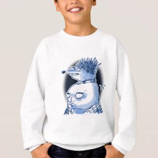 funny hedgehog wig on bald mens head cartoon sweatshirt