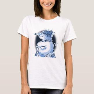 funny hedgehog wig on bald mens head cartoon T-Shirt