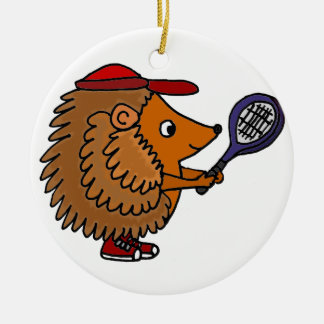 Funny Hedgehog with Blue Tennis Racket Round Ceramic Ornament