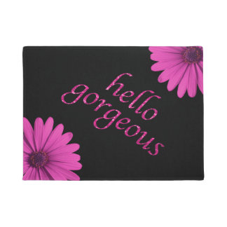 Funny Hello Gorgeous Quote Girly Pink Daisies Doormat