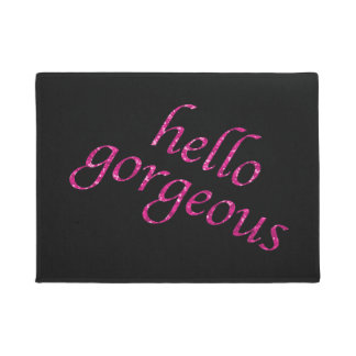 Funny Hello Gorgeous Quote Girly Pink Glitter Doormat