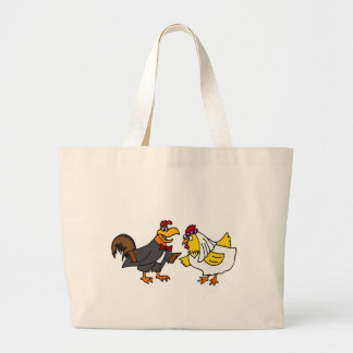 Funny Hen Bride and Rooster Groom Wedding Bags