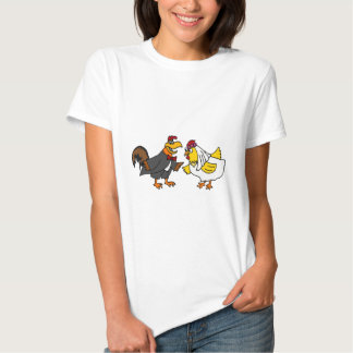 Funny Hen Bride and Rooster Groom Wedding Tee Shirts