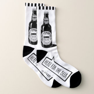 """Funny """"Here For The Beer"""" Your Background Color Socks"""